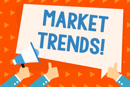 Word writing text Market Trends. Business photo showcasing Changes and developments in buying and selling in the market Hand Holding Megaphone and Other Two Gesturing Thumbs Up with Text Balloon