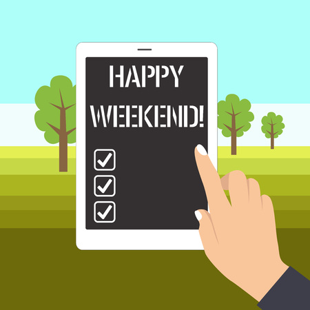 Word writing text Happy Weekend. Business photo showcasing wishing someone to have a blissful weekend or holiday Female Hand with White Polished Nails Pointing Finger Tablet Screen Off