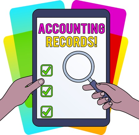 Word writing text Accounting Records. Business photo showcasing Manual or computerized records of assets and liabilities Hands Holding Magnifying Glass Against Switched Off Touch Screen Tablet