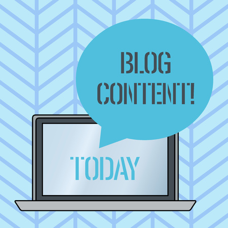 Writing note showing Blog Content. Business concept for Posts on one continuous streaming page or individual pages Round Shape Speech Bubble Floating Over Laptop Backdrop Imagens