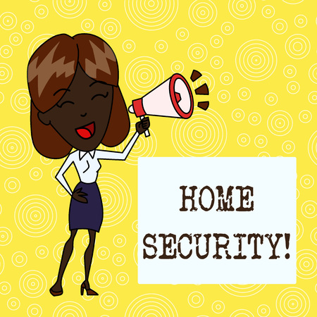Handwriting text Home Security. Conceptual photo A system that help protect your home from unwanted intruders Young Woman Speaking into Blowhorn Volume Icon Colored Backgdrop Text Box