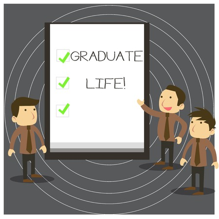 Text sign showing Graduate Life. Business photo text condition or a status a demonstrating after finishing academic degree Business People Colleagues Discuss Missions Presentation Whiteboard Ticks 写真素材