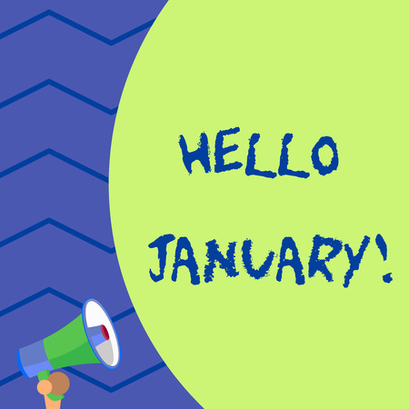 Word writing text Hello January. Business photo showcasing a greeting or warm welcome to the first month of the year Old design of speaking trumpet loudspeaker for talking to audience outdoor