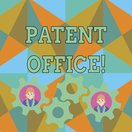 Text sign showing Patent Office. Business photo text a government office that makes decisions about giving patents Two Business People Each Inside Colorful Cog Wheel Gears for Teamwork Event Archivio Fotografico