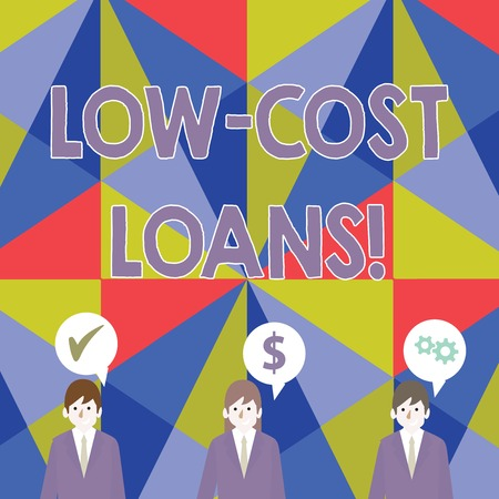 Handwriting text Low Cost Loans. Conceptual photo loan that has an interest rate below twelve percent Businessmen Each has their Own Speech Bubble with Optimization Cost Icons