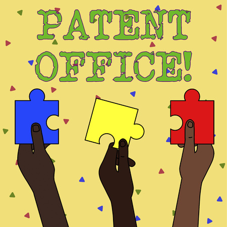 Word writing text Patent Office. Business photo showcasing a government office that makes decisions about giving patents Three Colored Empty Jigsaw Puzzle Pieces Held in Different People Hands