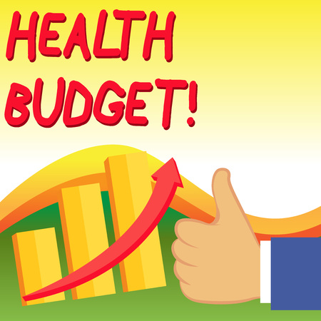 Text sign showing Health Budget. Business photo showcasing amount of money to support your health and wellbeing needs Thumb Up Good Performance Success Escalating Bar Graph Ascending Arrow