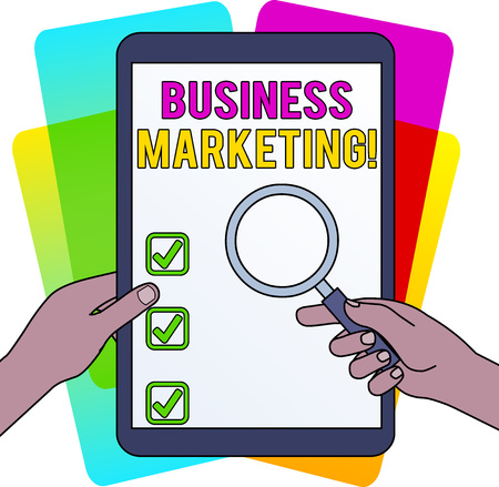 Word writing text Business Marketing. Business photo showcasing products and services are sold to other businesses Hands Holding Magnifying Glass Against Switched Off Touch Screen Tablet