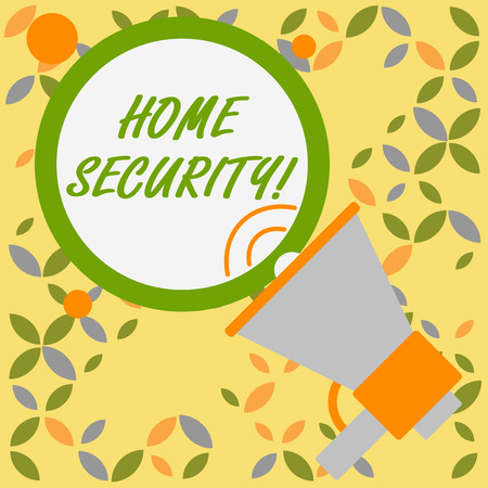 Word writing text Home Security. Business photo showcasing A system that help protect your home from unwanted intruders SpeakingTrumpet Empty Round Stroked Speech Text Balloon Announcement