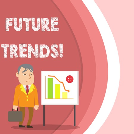 Conceptual hand writing showing Future Trends. Concept meaning forecasts affecting technology customers and business Businessman with Brief Case Standing Whiteboard Bar Chart