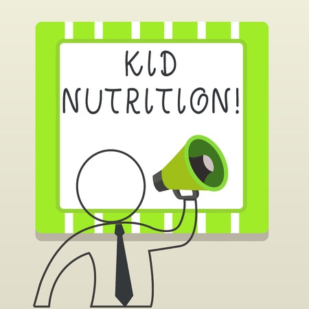 Handwriting text writing Kid Nutrition. Conceptual photo A healthy diet for children to help them grow and learn Outline Symbol Man Loudspeaker Making Announcement Giving Instructions