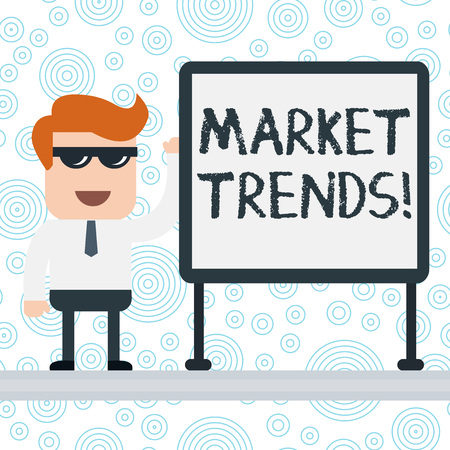 Writing note showing Market Trends. Business concept for Changes and developments in buying and selling in the market Office Worker Sunglass Blank Whiteboard Meeting Presentation