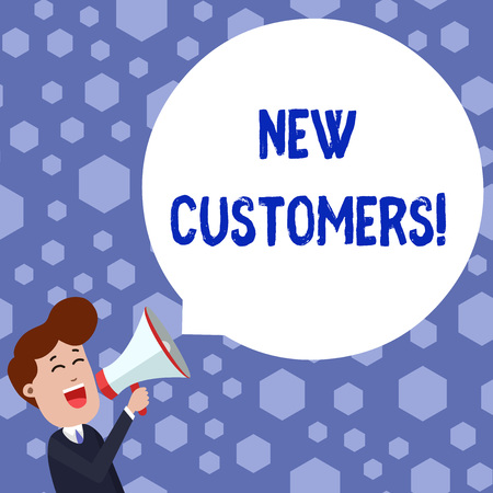 Text sign showing New Customers. Business photo showcasing an entity that has not previously purchased one s is goods Young Man Shouting into Megaphone Floating Round Shape Empty Speech Bubble