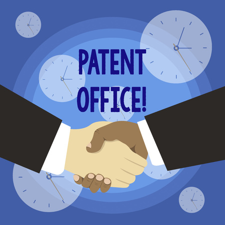 Conceptual hand writing showing Patent Office. Concept meaning a government office that makes decisions about giving patents Hand Shake Multiracial Male Business Partners Formal Suits