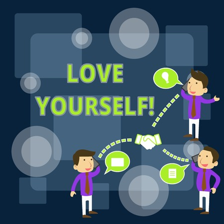 Writing note showing Love Yourself. Business concept for have selfrespect and the unconditional selfacceptance Businessmen Coworker Conference Call Discussion Mobile Phone