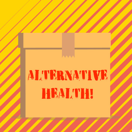 Conceptual hand writing showing Alternative Health. Concept meaning products and practices that are not part of standard care Rectangular hard carton cardboard with irregular zigzag tape