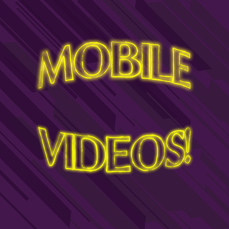 Writing note showing Mobile Videos. Business concept for electronic media which is viewed or used on mobile phones Seamless Diagonal Violet Stripe Paint Slanting Line Repeat Pattern Reklamní fotografie