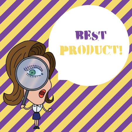Writing note showing Best Product. Business concept for very popular and a large quantity of it has been sold Woman Looking Trough Magnifying Glass Big Eye Blank Round Speech Bubble