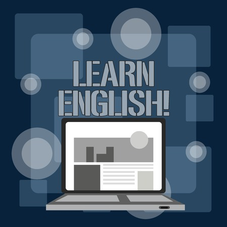 Writing note showing Learn English. Business concept for gain or acquire knowledge of speaking and writing English Laptop Switched On with Website Homepage Screen Web Search