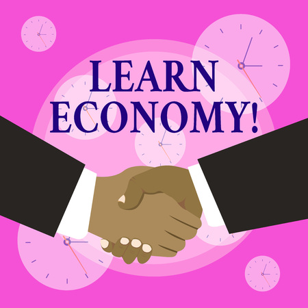 Conceptual hand writing showing Learn Economy. Concept meaning gain or acquire knowledge in system of trade and industry Hand Shake Multiracial Male Business Partners Formal Suits