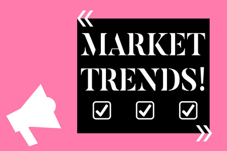 Text sign showing Market Trends. Business photo text Changes and developments in buying and selling in the market Isolated Megaphone Pointing Upward to Empty Text Box in Quotation Marks