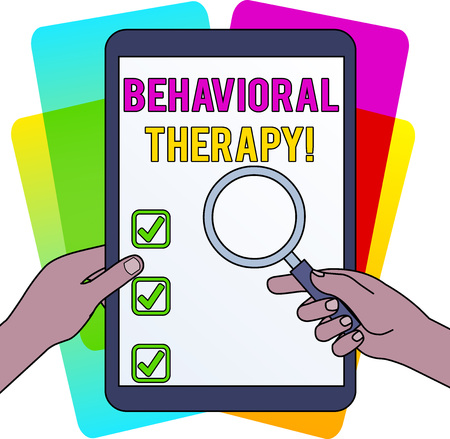 Word writing text Behavioral Therapy. Business photo showcasing help change potentially selfdestructive behaviors Hands Holding Magnifying Glass Against Switched Off Touch Screen Tablet
