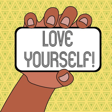 Word writing text Love Yourself. Business photo showcasing have selfrespect and the unconditional selfacceptance Closeup of Smartphone Device Held in Hand with Blank Screen and Text Space