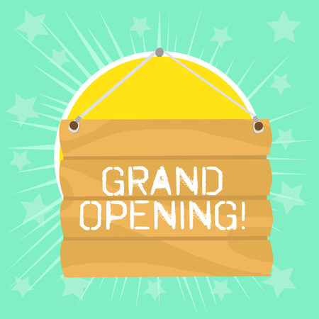 Text sign showing Grand Opening. Business photo showcasing held to mark the opening of a new business or public place Hook Up Blank Sign Plate. Empty Wooden Signboard with Lope for Hang