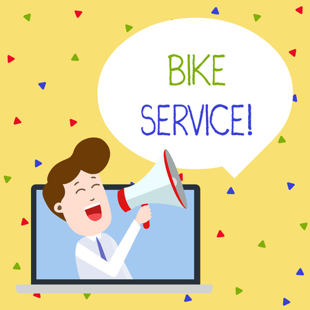 Word writing text Bike Service. Business photo showcasing cleaning and repairing bike mechanism to keep best condition Man Speaking Through Laptop into Loudhailer Blank Speech Bubble Announce