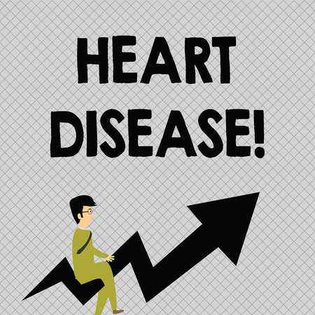 Conceptual hand writing showing Heart Disease. Concept meaning class of diseases that involve the heart or blood vessels Businessman with Eyeglasses Riding Crooked Arrow Pointing Up Imagens