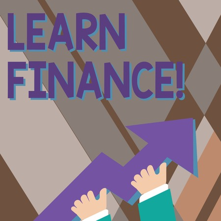 Handwriting text writing Learn Finance. Conceptual photo study which figures out how showing and business uses money photo of Hand Holding Colorful Huge 3D Arrow Pointing and Going Up