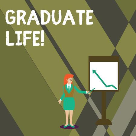 Conceptual hand writing showing Graduate Life. Concept meaning condition or a status a demonstrating after finishing academic degree Woman Holding Stick Pointing to Chart of Arrow on Whiteboard