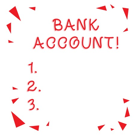 Text sign showing Bank Account. Business photo showcasing Represents the funds that a customer has entrusted to the bank Red Confetti Shrapnel Glass Pieces Scattered in Corners Empty Copy Space