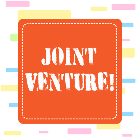 Conceptual hand writing showing Joint Venture. Concept meaning New firm formed to achieve exact objectives of a partnership Dashed Line Square Colored Cutout Frame Bright Background Reklamní fotografie