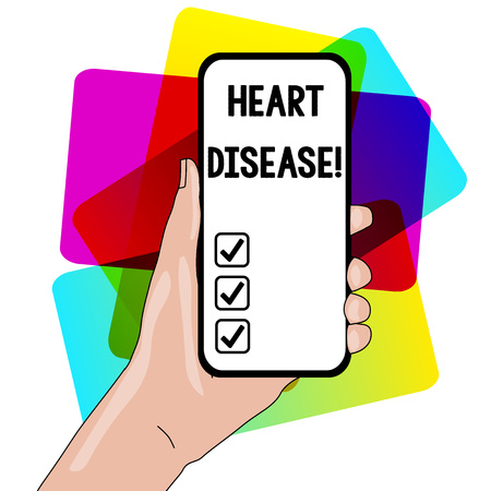 Word writing text Heart Disease. Business photo showcasing class of diseases that involve the heart or blood vessels Closeup of Smartphone Device Held in Hand with Empty Screen and Text Space Stockfoto