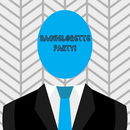 Text sign showing Bachelorette Party. Business photo text a party given for a woanalysis who is about to get married Symbolic Drawing Emblematic Figure of Man Formal Suit Oval Faceless Head Foto de archivo