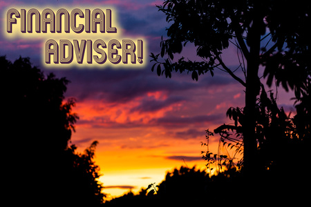 Word writing text Financial Adviser. Business photo showcasing demonstrating who is employed to provide financial services Beautiful sunset sunrise through fresh forest nature wood. Sunlight morning Stok Fotoğraf