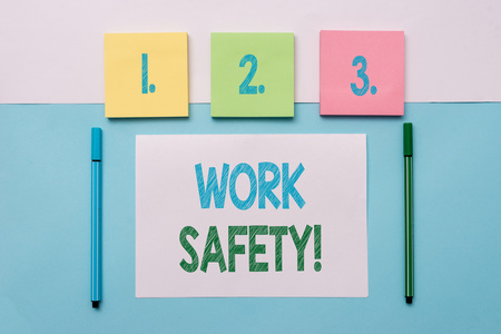 Text sign showing Work Safety. Business photo text policies and procedures in place to ensure health of employees Note papers and stationary placed sideways on top of softhued backdrop