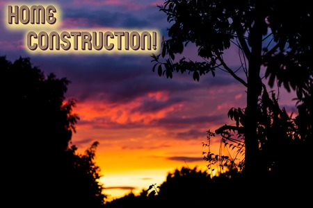 Word writing text Home Construction. Business photo showcasing the process of constructing a living accommodation Beautiful sunset sunrise through fresh forest nature wood. Sunlight morning 版權商用圖片