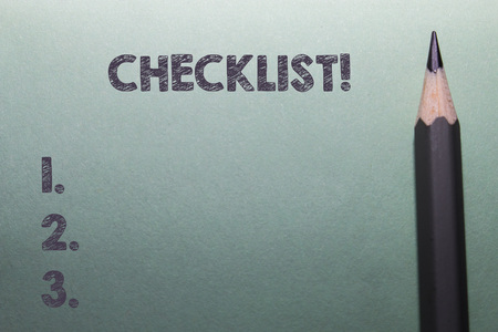Writing note showing Checklist. Business concept for list items required things be done or points considered Close up front view pencil lying on stationary sheet paper Writing