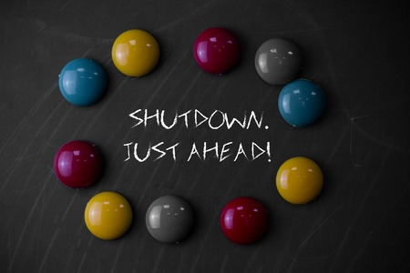 Writing note showing Shutdown Just Ahead. Business concept for closing factory business either short time or forever 版權商用圖片 - 123330737