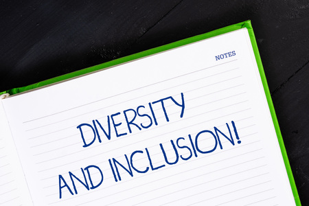 Text sign showing Diversity And Inclusion. Business photo showcasing range huanalysis difference includes race ethnicity gender Close up view corner blank page notebook. Writing ideas projects goals