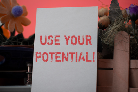 Word writing text Use Your Potential. Business photo showcasing achieve as much natural ability makes possible Фото со стока