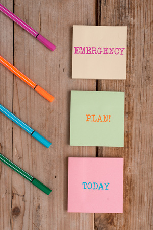 Handwriting text Emergency Plan. Conceptual photo actions developed to mitigate damage of potential events Note papers and stationary placed sideways on top of softhued backdrop Stock Photo