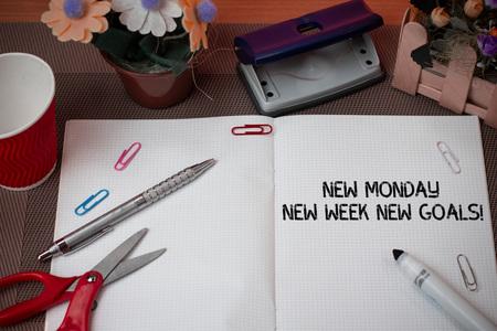 Handwriting text New Monday New Week New Goals. Conceptual photo goodbye weekend starting fresh goals targets