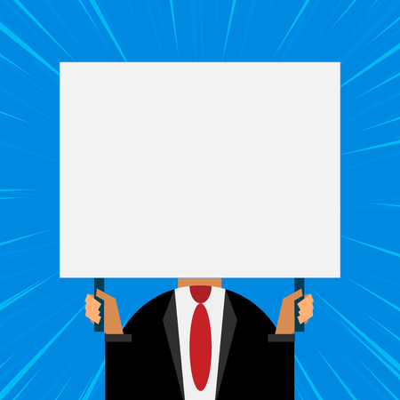 Just man chest dressed dark suit tie no face holding blank big rectangle Stock Vector - 123432434