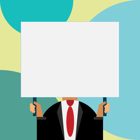 Just man chest dressed dark suit tie no face holding blank big rectangle Vectores