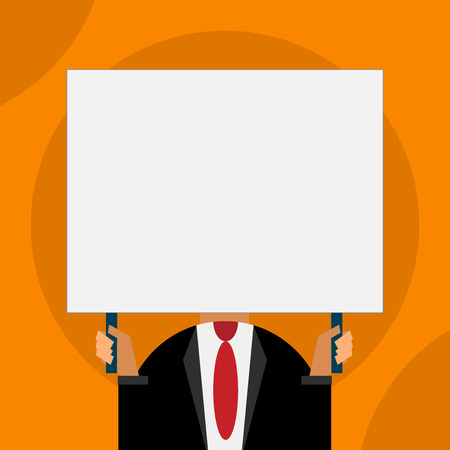 Just man chest dressed dark suit tie no face holding blank big rectangle Stock Vector - 123437796
