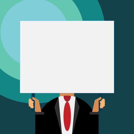 Just man chest dressed dark suit tie no face holding blank big rectangle Illustration