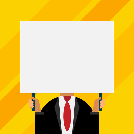 Just man chest dressed dark suit tie no face holding blank big rectangle